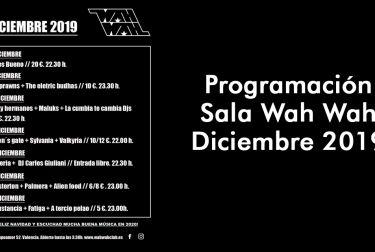 Programación Sala Wah Wah Diciembre 2019