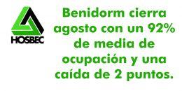 Benidorm cierra agosto con un 92% de media de ocupación y una caída de 2 puntos.