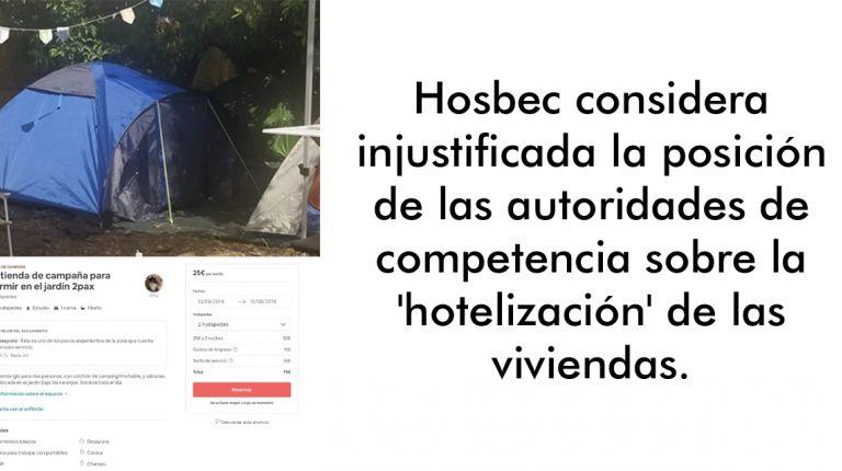Hosbec considera injustificada la posición de las autoridades de competencia sobre la 'hotelización' de las viviendas.