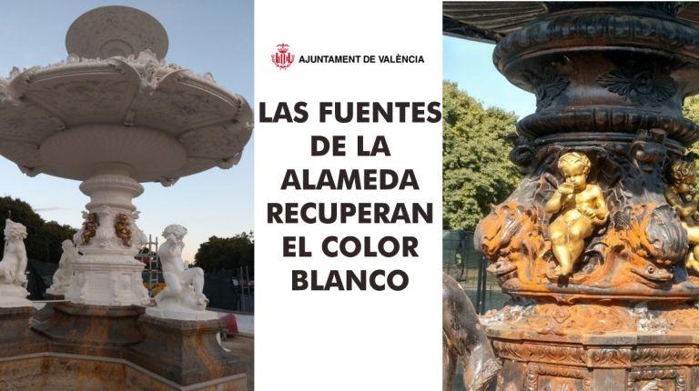 LAS FUENTES DE LA ALAMEDA RECUPERAN EL COLOR BLANCO