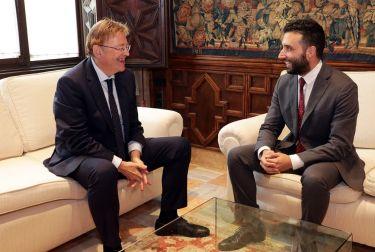 Ximo Puig recibe al alcalde de Sagunto, Darío Moreno