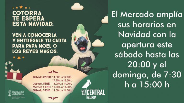 'Cotorra', la mascota del Mercado Central, recogerá mañana las cartas para Papá Noel