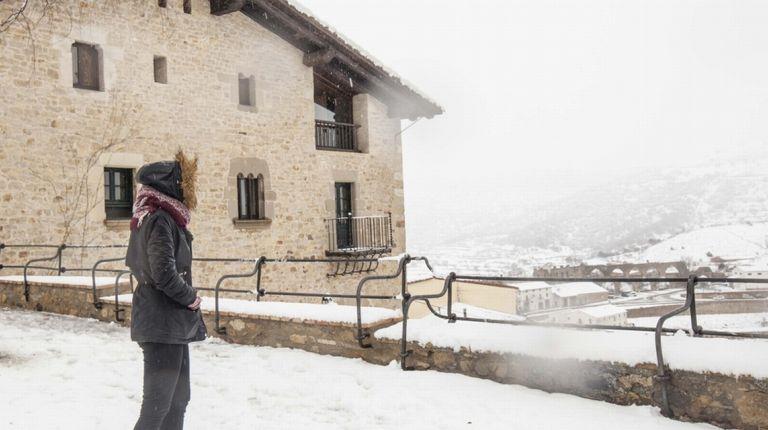 Nieva en Morella durante toda la mañana