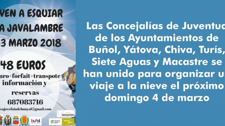 La Concejalía de Juventud del Ayuntamiento de Buñol organiza un viaje a Javalambre el próximo 3 de marzo