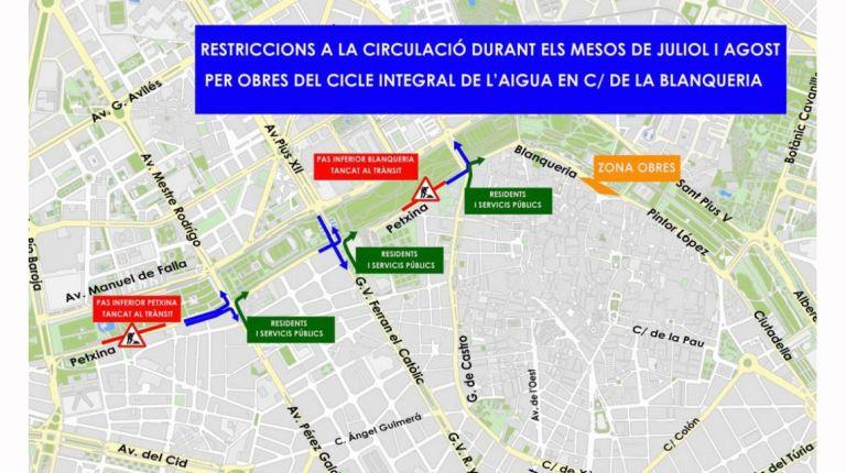 RESTRICCIONES AL TRÁFICO EN BLANQUERIA DURANTE JULIO Y AGOSTO