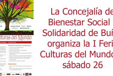 La Concejalía de Bienestar Social y Solidaridad de Buñol organiza la I Feria Culturas del Mundo