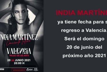 India Martínez ya tiene fecha para su regreso a Valencia
