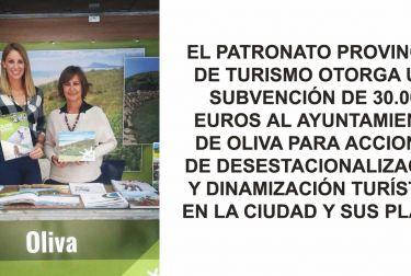 EL PATRONATO PROVINCIAL DE TURISMO OTORGA UNA SUBVENCIÓN DE 30.000 EUROS AL AYUNTAMIENTO DE OLIVA