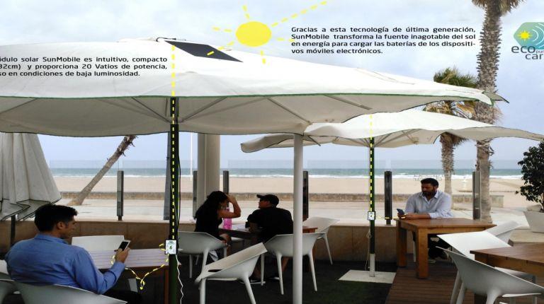 Los hoteles podrán cargar dispositivos móviles en piscinas y jardines con tecnología solar. Ahorro de energía y más servicios.