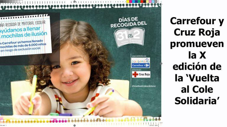 Carrefour y Cruz Roja promueven la X edición de la 'Vuelta al Cole Solidaria'
