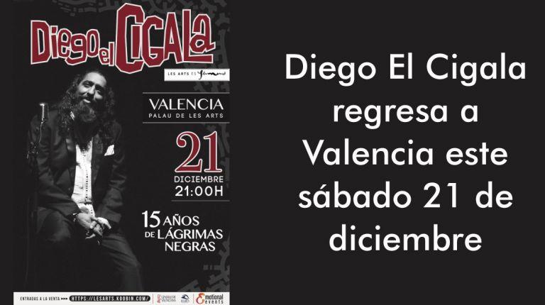 Diego El Cigala regresa a Valencia este sábado 21 de diciembre