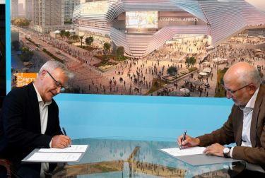 Joan Ribó y Juan Roig formalizan el acuerdo para la concesión de la parcela donde se construirá el valencia arena